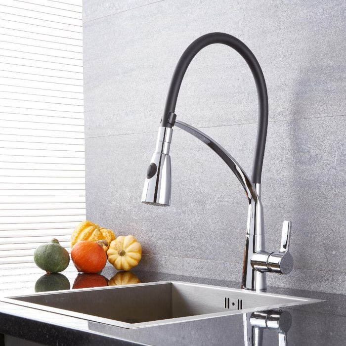 Milano Mirage - Modern Pull Down Spray Kitchen Tap - Black and Chrome