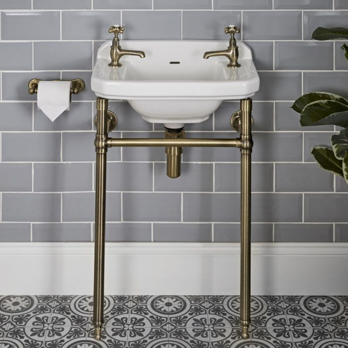 Milano Richmond - 515mm Traditional Basin and Washstand - Brushed Gold (2 Tap-Holes)