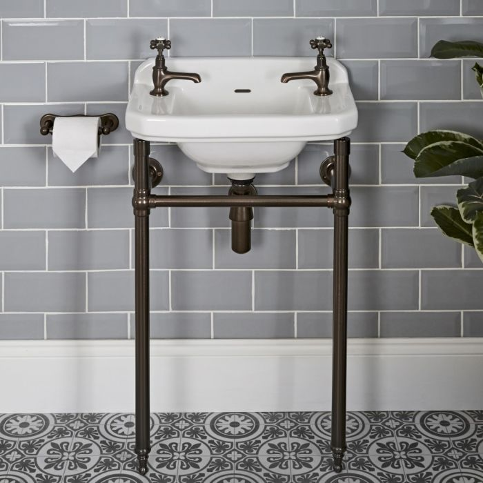 Milano Richmond - 515mm Traditional Basin and Washstand - Oil Rubbed Bronze (2 Tap-Holes)