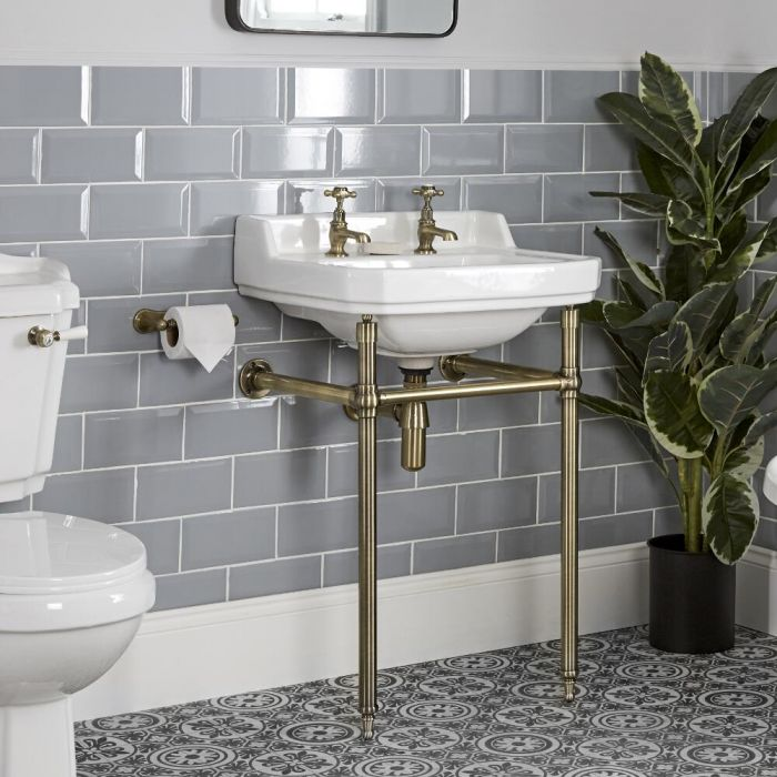Milano Richmond - 560mm Traditional Basin and Washstand - Brushed Gold (2 Tap-Holes)