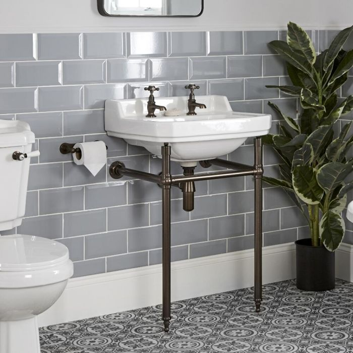 Milano Richmond - 560mm Traditional Basin and Washstand - Oil Rubbed Bronze (2 Tap-Holes)