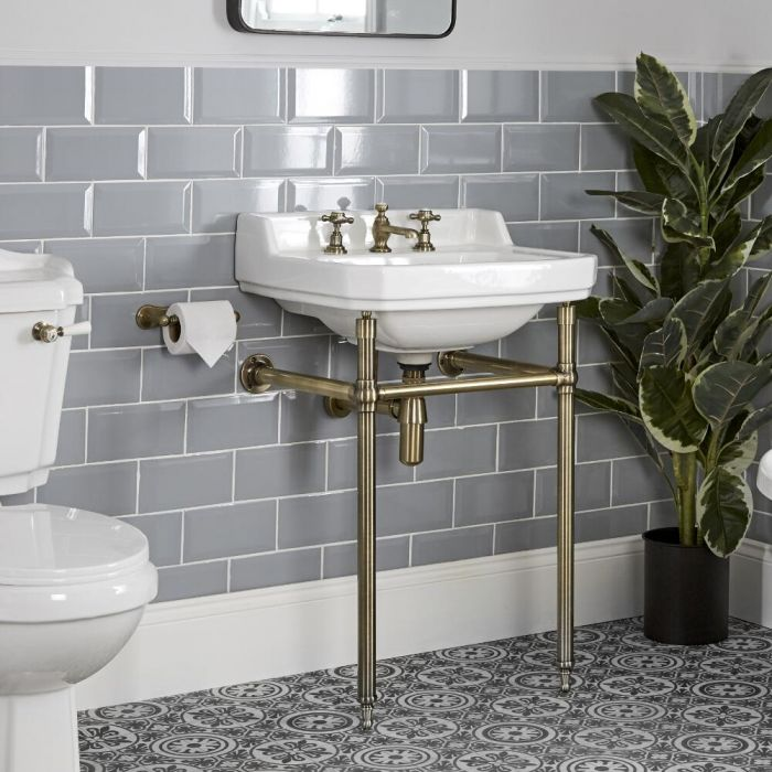 Milano Richmond - 560mm Traditional Basin and Washstand - Brushed Gold (3 Tap-Holes)