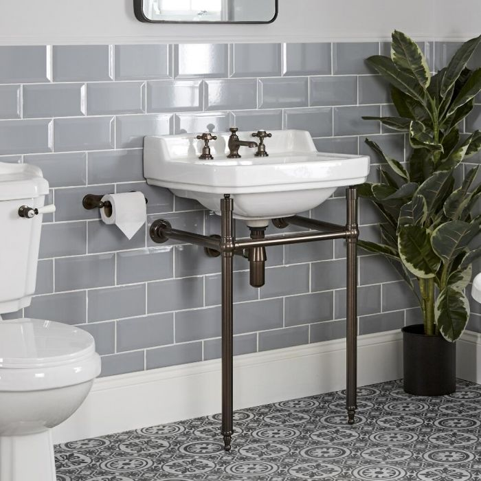 Milano Richmond - 560mm Traditional Basin and Washstand - Oil Rubbed Bronze (3 Tap-Holes)