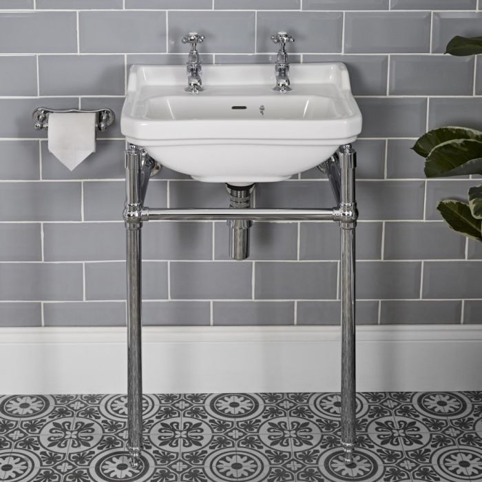 Milano Richmond - White Traditional Square Basin and Washstand - 500mm x 350mm (2 Tap-Holes)