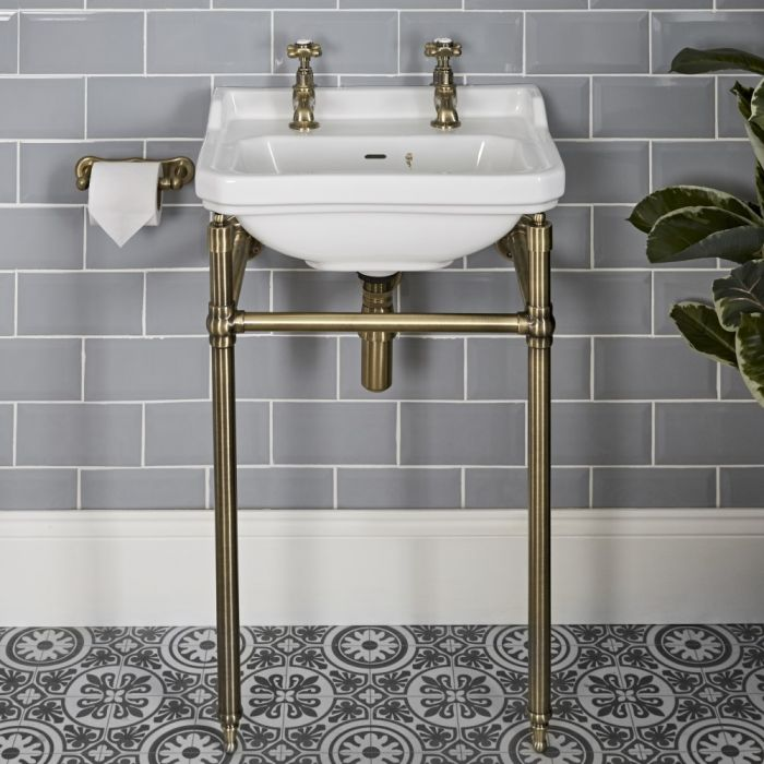 Milano Richmond - 500mm Traditional Basin and Washstand - Brushed Gold (2 Tap-Holes)