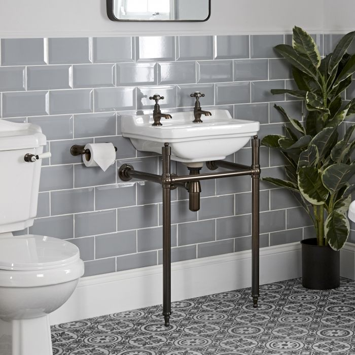 Milano Richmond - 500mm Traditional Basin and Washstand - Oil Rubbed Bronze (2 Tap-Holes)