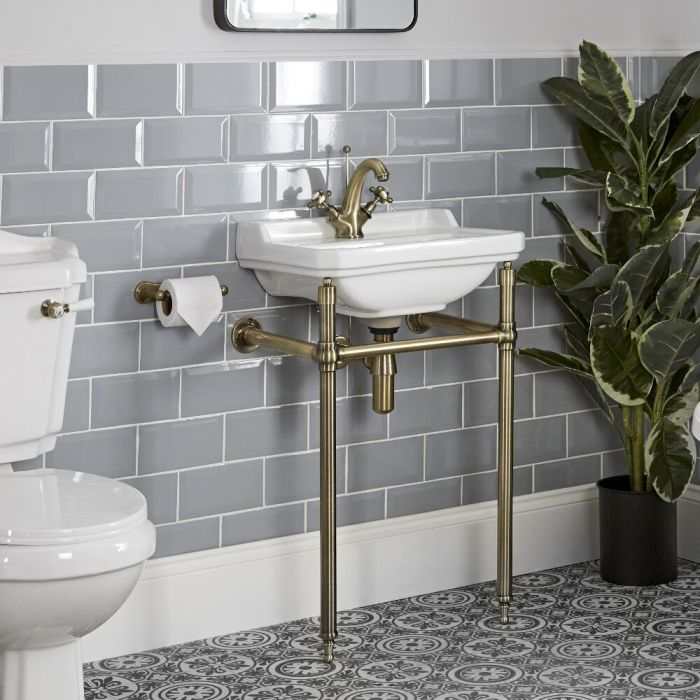 Milano Richmond - 500mm Traditional Basin and Washstand - Brushed Gold (1 Tap-Hole)