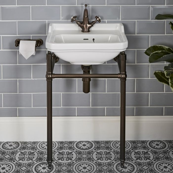 Milano Richmond - 500mm Traditional Basin and Washstand - Oil Rubbed Bronze (1 Tap-Hole)