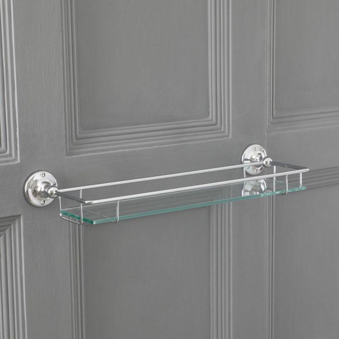 Milano Elizabeth - Traditional Glass Bathroom Shelf with Chrome Frame