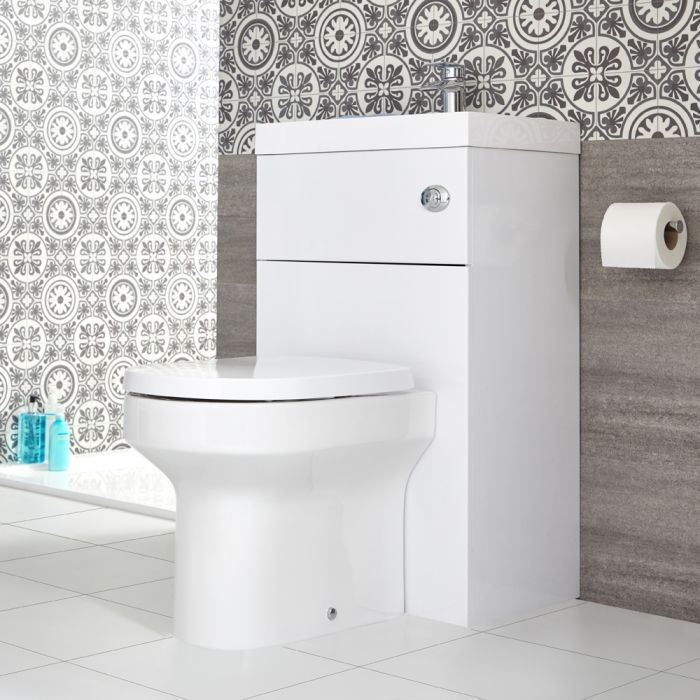 Milano Lurus - White Modern Ballam Toilet and Basin Unit Combination - 500mm x 890mm
