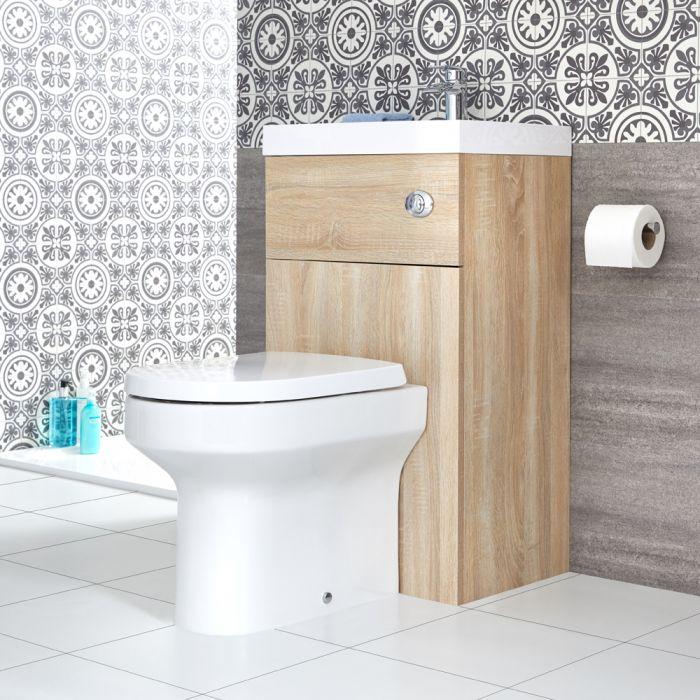 Milano Lurus - Oak Modern Ballam Toilet and Basin Combination Unit - 500mm x 890mm
