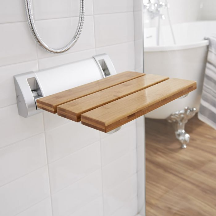 Milano Select - Modern Wall Mounted Folding Shower Seat with Wide Bracket - Bamboo