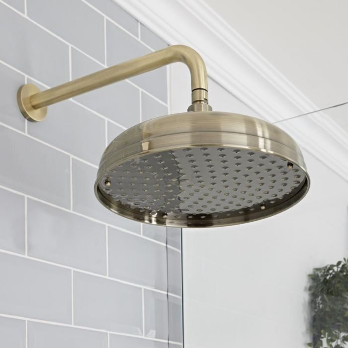 Milano Elizabeth - Brushed Gold 300mm Traditional Apron Shower Head and Wall Arm