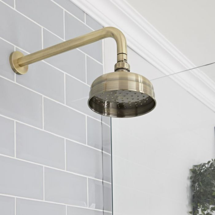 Milano Elizabeth - Brushed Gold 150mm Traditional Apron Shower Head and Wall Arm