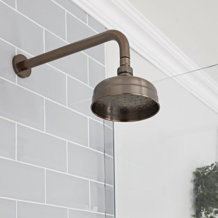 Milano Elizabeth - Oil Rubbed Bronze 150mm Traditional Apron Shower Head and Wall Arm