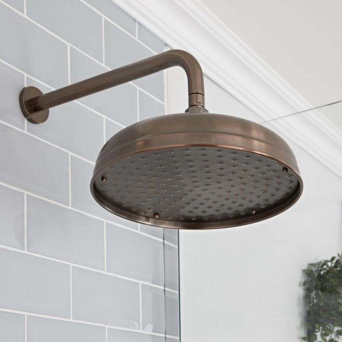 Milano Elizabeth - Oil Rubbed Bronze 300mm Traditional Apron Shower Head and Wall Arm