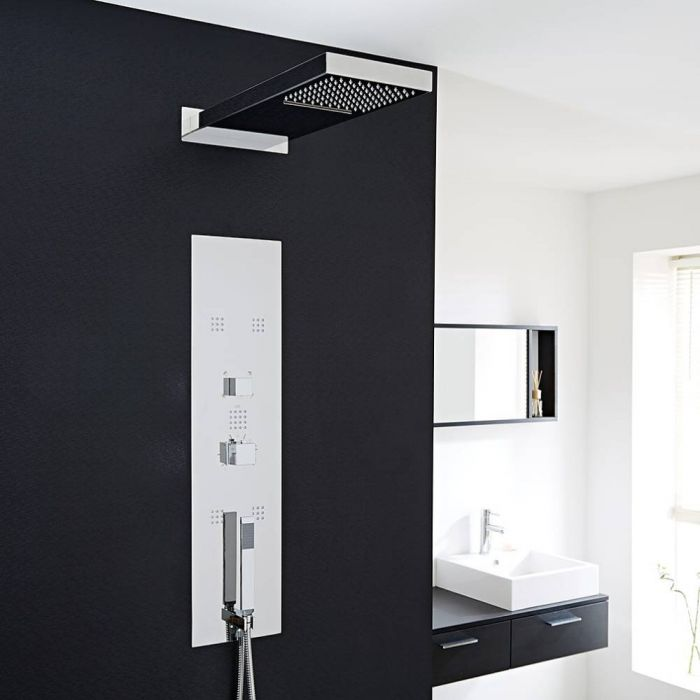 Milano Interval - Modern Concealed Thermostatic Shower Tower Panel with Waterfall Shower Head, Hand Shower and Body Jets - Chrome