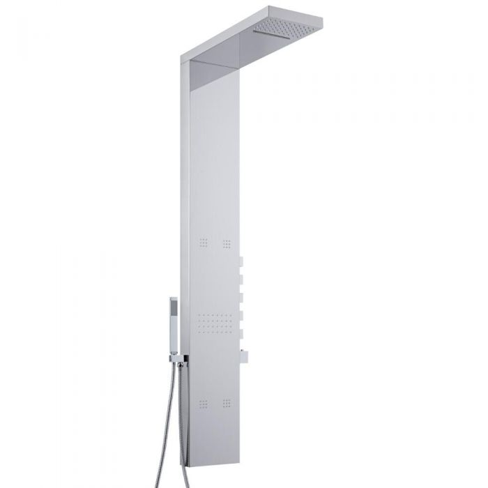 Milano Tahuata - Chrome Thermostatic Outdoor Shower Tower with Shower Head, Hand Shower and Body Jets (5 Outlet)