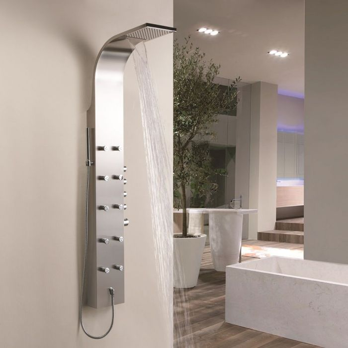 Milano Select - Modern Exposed Thermostatic Shower Tower Panel with Waterfall Shower Head, Hand Shower and Body Jets - Stainless Steel
