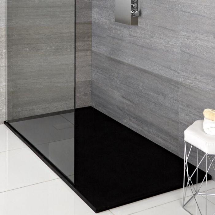 Milano Rasa - Graphite Slate Effect Rectangular Shower Tray - 1400mm x 800mm