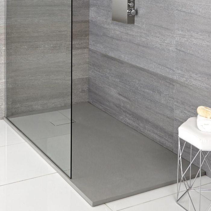 Milano Rasa - Light Grey Slate Effect Rectangular Shower Tray - 1400mm x 900mm