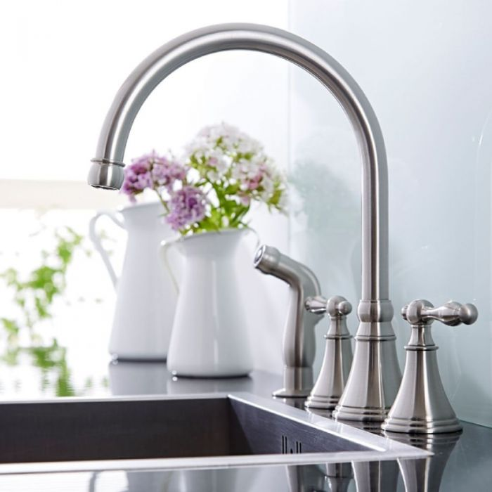 Milano Select - Traditional Deck Mounted Kitchen Mixer Tap with Pull Out Spray - Brushed Nickel