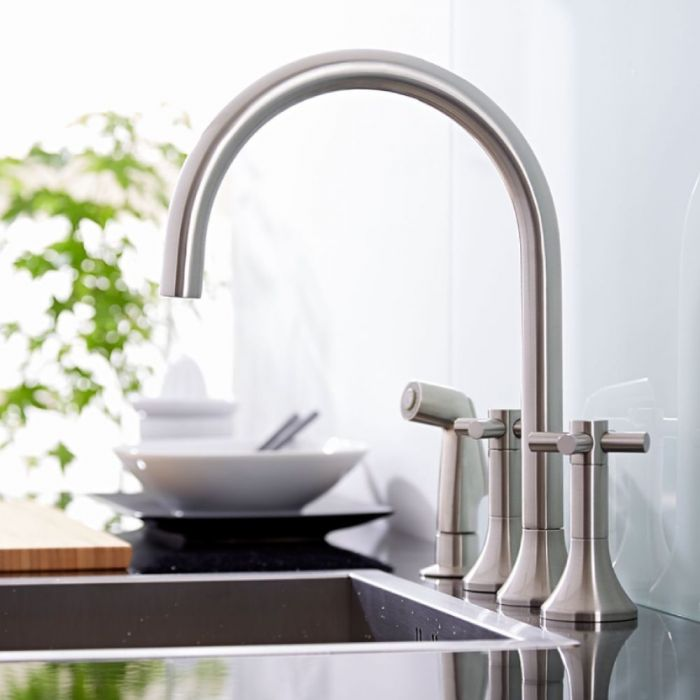 Milano Tec - Modern Deck Mounted Kitchen Mixer Tap with Pull Out Spray - Brushed Nickel