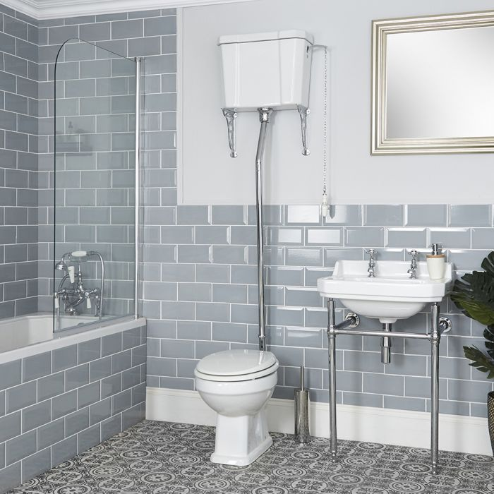 Milano Richmond - White Traditional Round Floor Standing Toilet Pan with High Level Cistern and Seat