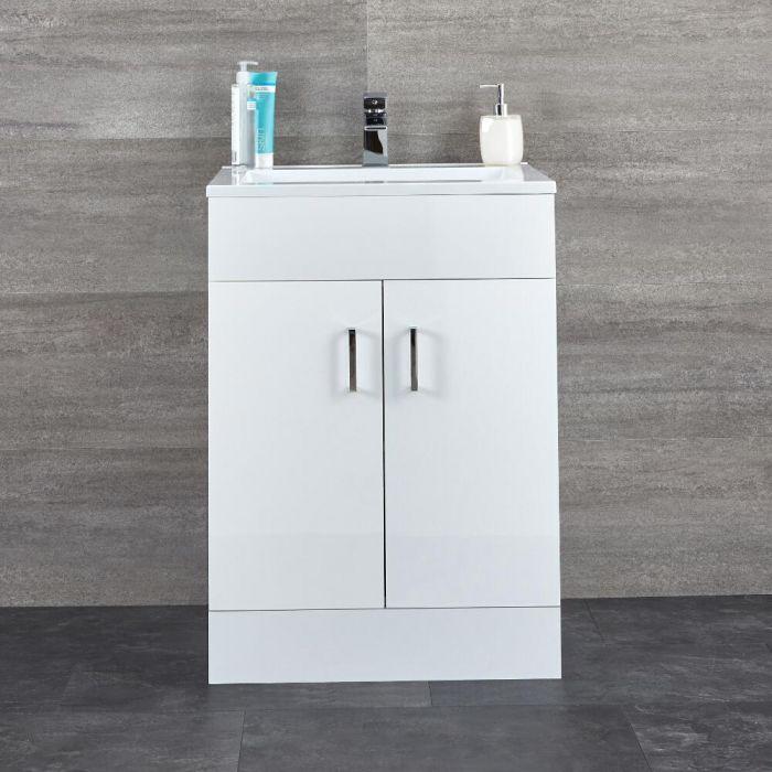 Milano Ren - White 600mm Floor Standing Vanity Unit and Basin
