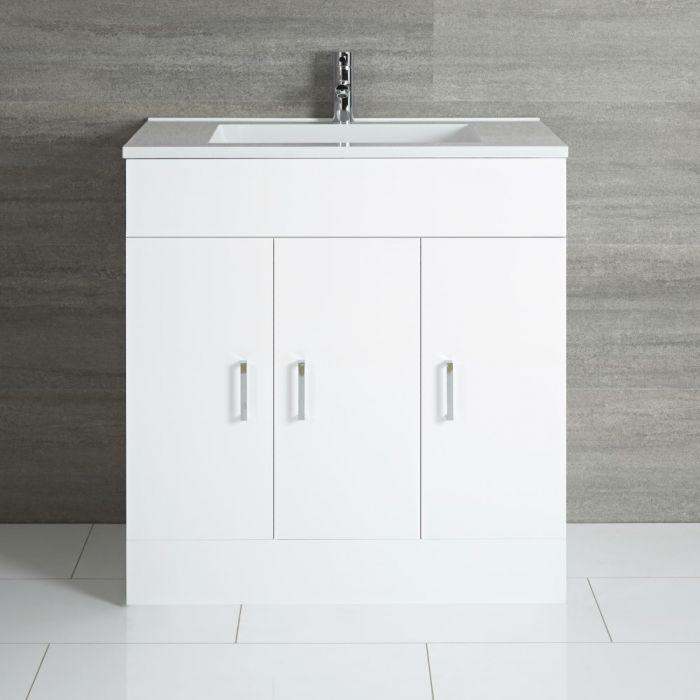 Milano Ren - White 800mm Floor Standing Vanity Unit and Basin