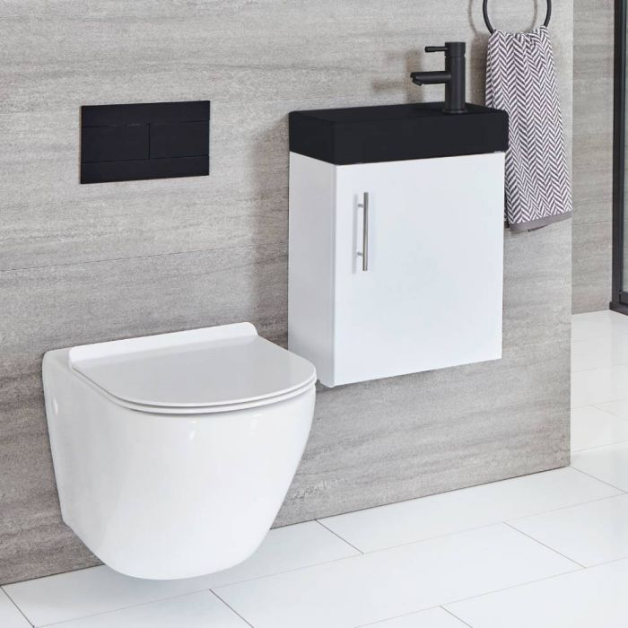 Milano Lurus - White 400mm Compact Wall Hung Cloakroom Vanity Unit with Black Basin