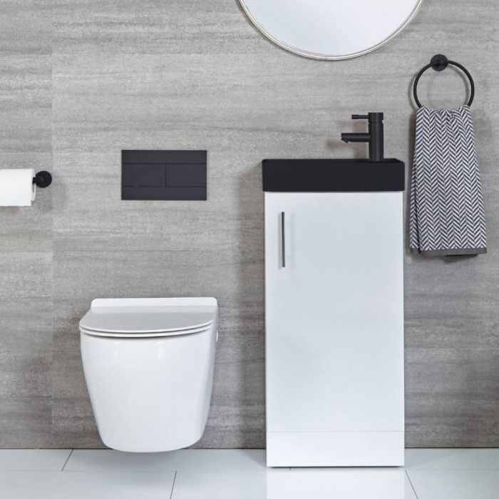 Milano Lurus - White 400mm Compact Floor Standing Cloakroom Vanity Unit with Black Basin