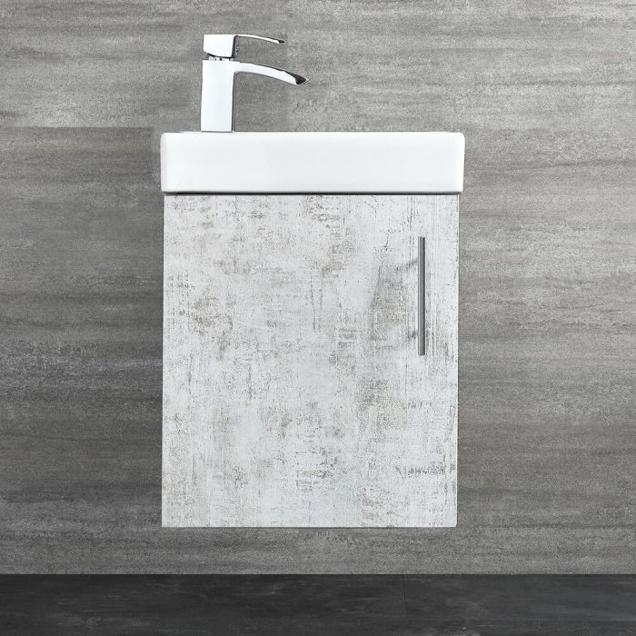 Milano Lurus - Concrete Grey 400mm Compact Wall Hung Cloakroom Vanity Unit with Basin