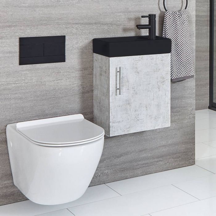 Milano Lurus - Concrete Grey 400mm Compact Wall Hung Cloakroom Vanity Unit with Black Basin