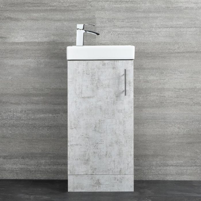 Milano Lurus - Concrete Grey 400mm Compact Floor Standing Cloakroom Vanity Unit with Basin