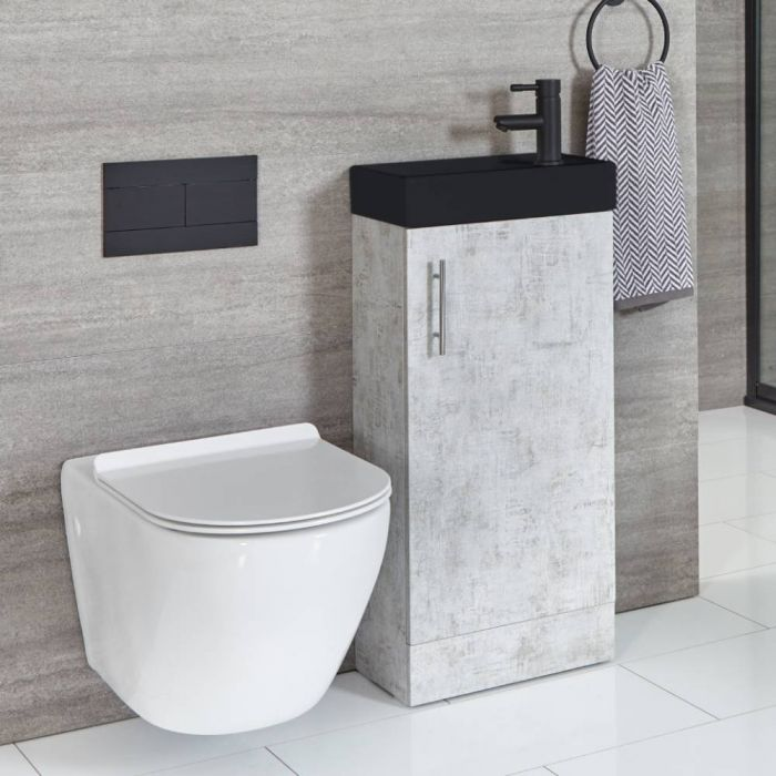Milano Lurus - Concrete Grey 400mm Compact Floor Standing Cloakroom Vanity Unit with Black Basin