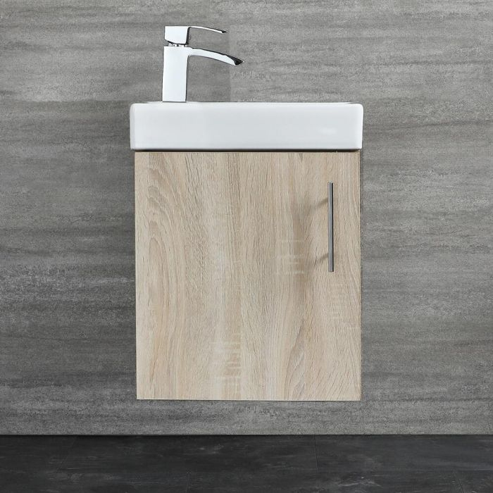 Milano Lurus - Oak 400mm Compact Wall Hung Cloakroom Vanity Unit with Basin