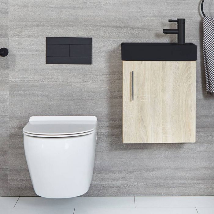 Milano Lurus - Oak 400mm Compact Wall Hung Cloakroom Vanity Unit with Black Basin