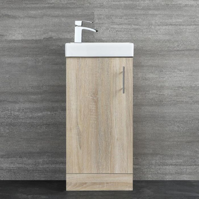 Milano Lurus - Oak 400mm Compact Floor Standing Cloakroom Vanity Unit with Basin