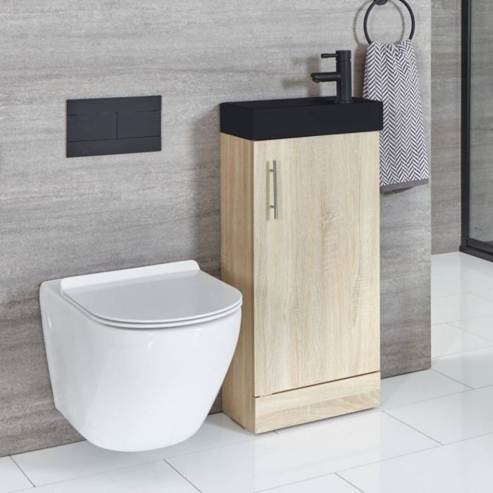 Milano Lurus - Oak 400mm Compact Floor Standing Cloakroom Vanity Unit with Black Basin
