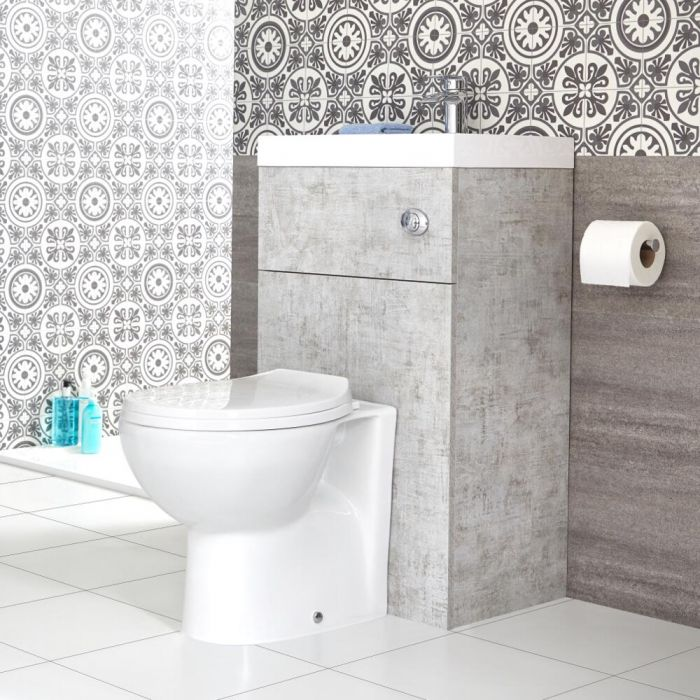 Milano Lurus - Concrete Grey Modern Select Toilet and Basin Combination Unit - 500mm x 890mm