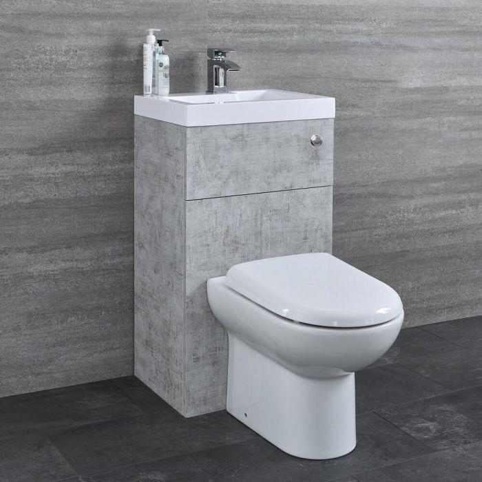 Milano Lurus - Concrete Grey Modern Select Basin and Toilet Unit Combination - 500mm x 890mm