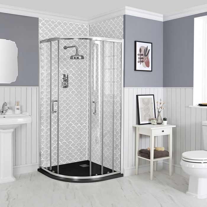 Milano Langley - 900mm Traditional Quadrant Shower Enclosure with Slate Tray - Choice of Tray Finish