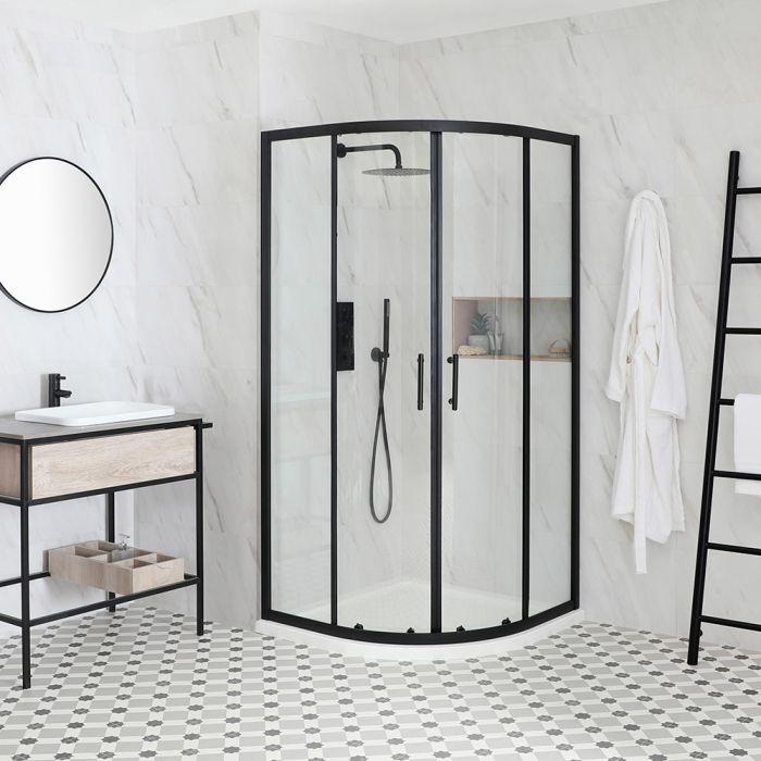 Milano Nero - Black Quadrant Shower Enclosure with Tray - Choice of Sizes