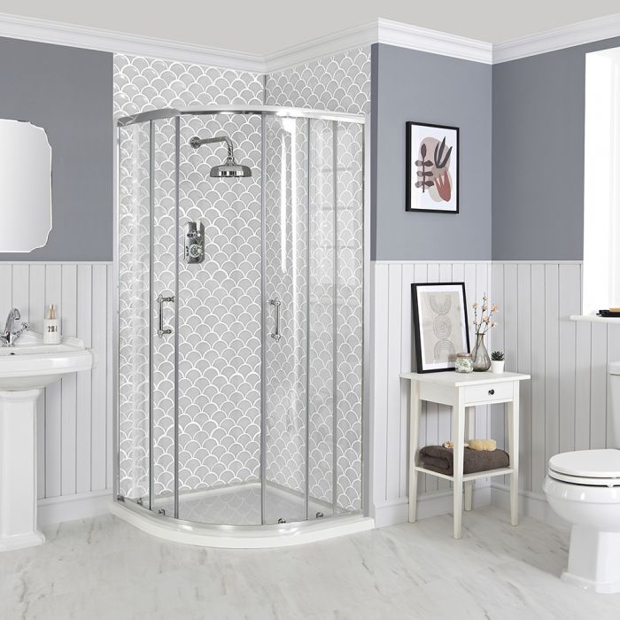 Milano Langley - Traditional Quadrant Shower Enclosure with Tray - Choice of Sizes