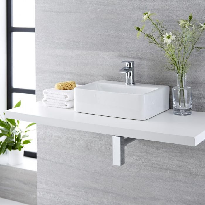 Milano Farington - White Modern Rectangular Countertop Basin with Mono Mixer Tap - 400mm x 295mm