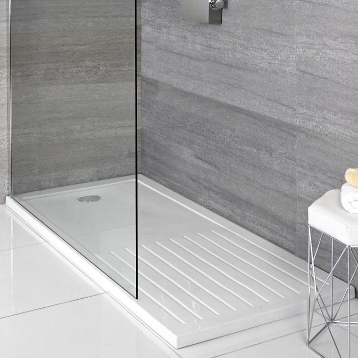 Milano Lithic - Low Profile Rectangular Walk-in Shower Tray with Drying Area - 1600mm x 800mm