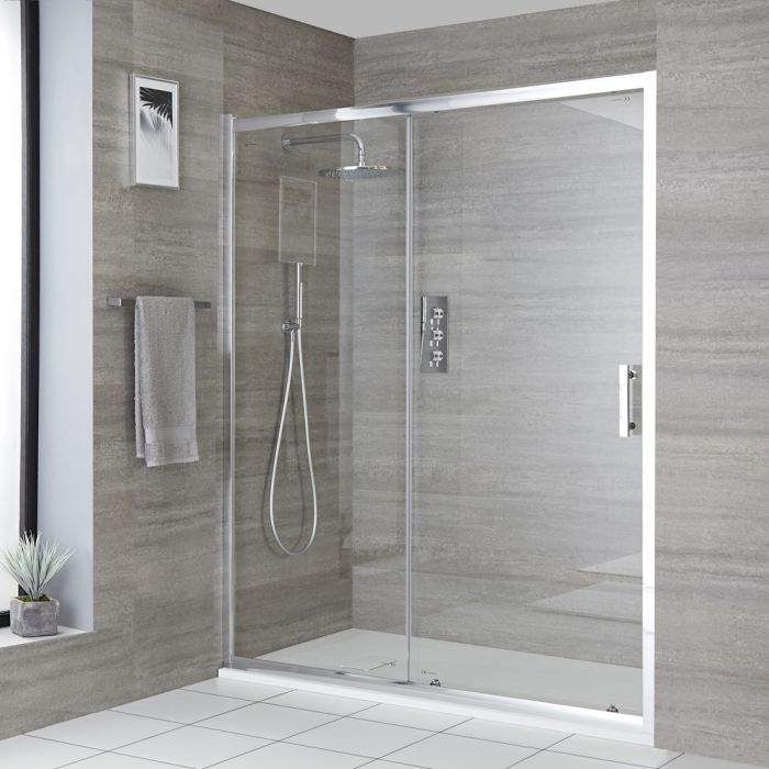 Milano Portland - Chrome Recessed Sliding Shower Door with Slate Tray - Choice of Sizes