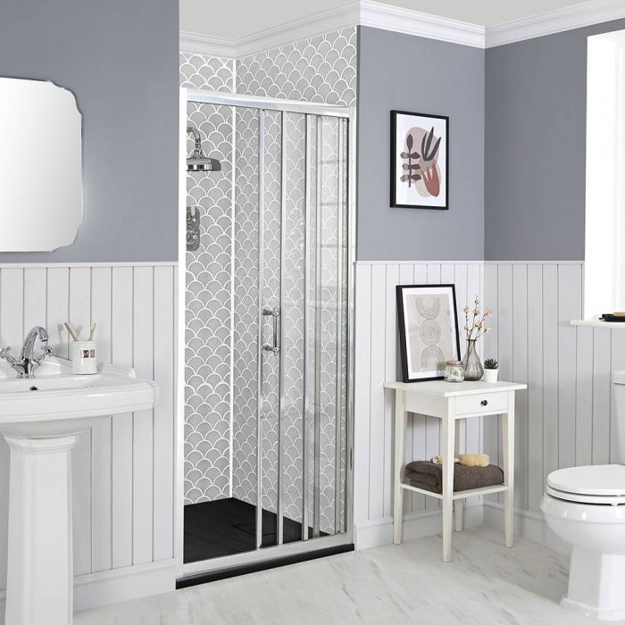 Milano Langley - Recessed Traditional Sliding Shower Door with Slate Tray - Choice of Sizes
