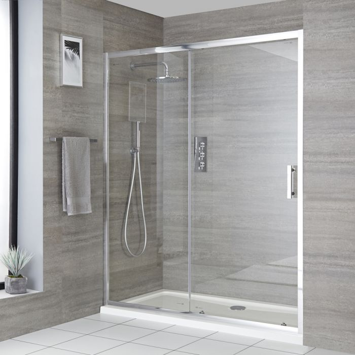 Milano Portland - Recessed Sliding Shower Door with Tray - Choice of Sizes